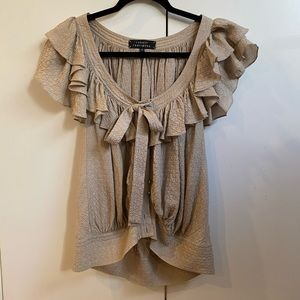 Nordstroms tan silk blouse with ruffle
